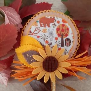 Őszi filc dekoráció - erdei állatkák, napraforgóval, Otthon & Lakás, Dekoráció, Ajtódísz & Kopogtató, Mindenmás, Varrás, Meska