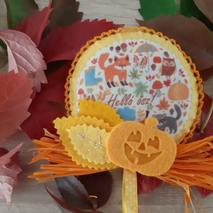 Őszi filc dekoráció - erdei állatkák, tökkel, Otthon & Lakás, Dekoráció, Ajtódísz & Kopogtató, Mindenmás, Varrás, Meska
