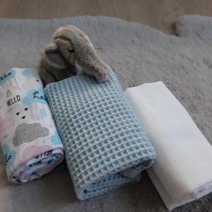 Textil pelus szett - baby boy, halványkék színvilágban - Meska.hu