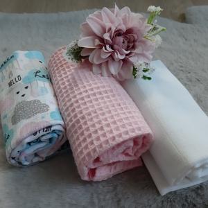 Textil pelus szett - baby girl, rózsaszín színvilágban - Meska.hu