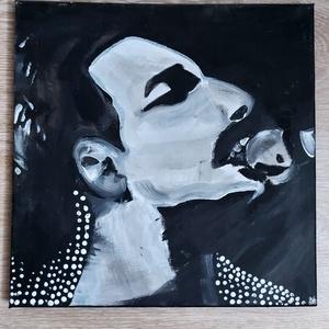 Freddie Mercury sziluettportré, Otthon & Lakás, Dekoráció, Kép & Falikép, Festészet, Akrilfestékkel feszített vászonra festettem.:)\nA vászon fa vakrámára van kifeszítve.\n\n30x30cm, Meska