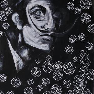 Salvador Dalí portré, Otthon & Lakás, Dekoráció, Kép & Falikép, Festészet, Akrilfestékkel feszített vászonra festettem, saját kis stílusomban - remélem elnyeri a tetszését val..., Meska