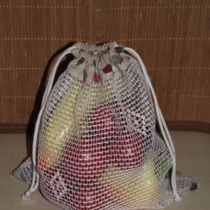 Epres textil zsák / öko zacskó, Táska, Divat & Szépség, Táska, Szatyor, NoWaste, Varrás, A műanyag zacskók kiváltására varrtam ezt a textil zsákot!\n\nMérete: 27 cm x 29 cm\n\nAnyaga: pamutvász..., Meska