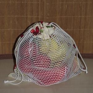 Cseresznyés textil zsák / öko zacskó, Táska, Divat & Szépség, Táska, Szatyor, Varrás, A műanyag zacskók kiváltására varrtam ezt a textil zsákot!\n\nMérete: 27,5 cm x 32 cm\n\nAnyaga: pamutvá..., Meska