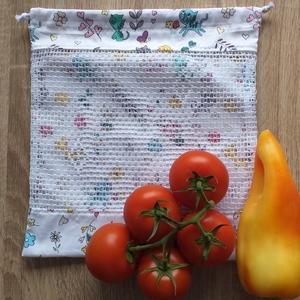 Cicás textil zsák / öko zacskó, Táska & Tok, Zöldség/Gyümölcs zsák, Bevásárlás & Shopper táska, A műanyag zacskók kiváltására varrtam ezt a textil zsákot!  Mérete: 27 cm x 29 cm  Anyaga: pamutvász..., Meska