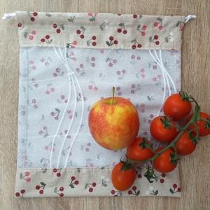Apró cseresznye mintás textil zsák / öko zacskó, Táska, Divat & Szépség, Táska, Szatyor, Varrás, A műanyag zacskók kiváltására varrtam ezt a textil zsákot!\n\nMérete: 27,5 cm x 30 cm\n\nAnyaga: pamutvá..., Meska
