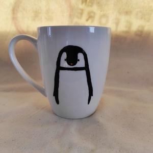 Pingvines bögre, Karácsony & Mikulás, Mikulás, Festett tárgyak, A bögre 3dl-es, mikróban melegíthető és kézzel mosható a festék amit használok nem toxikus akrill fe..., Meska