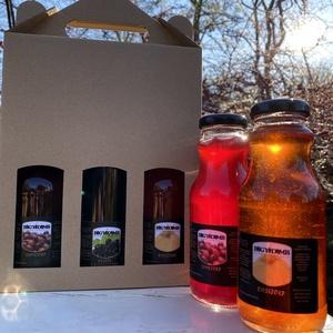 Szörpválogatás (250 ml x 3), Élelmiszer, Szörp, Élelmiszer előállítás, A doboz tartalmaz: 250 ml x 3 db minőségi gyümölcsszörpöt.\nBirsszörp - birslé és cukor összetevőkkel..., Meska