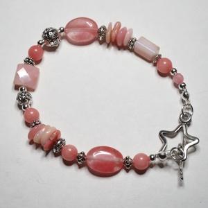 Rózsaszín ásványkarkötő, Ékszer, Karkötő, Ékszerkészítés, Egy igazi nőies karkötő rózsaszínű opál, jáde, cseresznyekvarc, morganit és rodokrozit gyöngyökből. ..., Meska