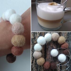 Habos kávé ékszerszett - gyapjúból nemezelt karkötő és fülbevaló - Meska.hu