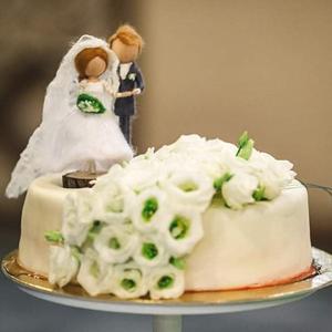 Esküvői torta dísz - gyapjúból készült dísz, személyre szabottan, fa talppal, Esküvő, Dekoráció, Sütidísz, Baba-és bábkészítés, Nemezelés, Egyedi megrendelés alapján, személyre szabottan, fénykép és/vagy részletes leírás alapján készítem a..., Meska
