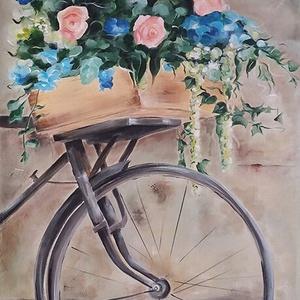 Rusztikus kerékpár virágokkal - akril festmény vászonra, Akril, Festmény, Művészet, Festészet, 40x80 cm-es feszített vászonra készült akril festmény. A kép elkészítéséhez akril alapozót és akril ..., Meska
