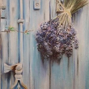 Levendulacsokor - rusztikus hangulatú pasztell festmény képkeretben, Otthon & lakás, Képzőművészet, Festmény, Pasztell, Lakberendezés, Falikép, Festészet, Vegyes technikával készített virágcsokor egy megkopott régi ajtón. \nA festmény alapja egy temperával..., Meska