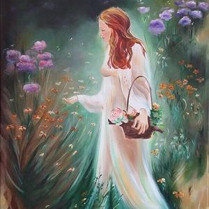 Tündérlány - akril festmény feszített vászonra, Otthon & lakás, Képzőművészet, Festmény, Akril, Lakberendezés, Falikép, Dekoráció, Kép, Festészet, Tündérlány Tündéreknek - feszített vásznon 40x60 cm-es méretben.\nAz erdő szélén nyíló virágok színei..., Meska