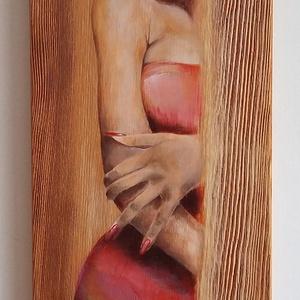 Capuccino nő - akril festmény natúr fenyőn, Otthon & lakás, Dekoráció, Kép, Képzőművészet, Festmény, Akril, Lakberendezés, Falikép, Festészet, Natúr fenyőfára festett akril festmény, melyet a fekete kávéba öntött tej ihletett :)\nA kávé-tej izg..., Meska