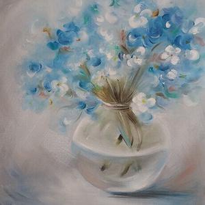 Olajos apróság - kék virágok vázában, olajfestmény vászonra, Művészet, Festmény, Olajfestmény, Festészet, Apró, selymes, a kék különböző árnyalataiban játszó virágcsokor megjelenítésében most az olajfesték ..., Meska