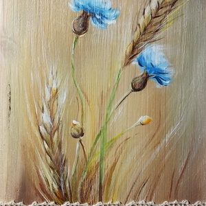 Csipkés búzavirágok - natúr fenyőre festett akril virágok, Otthon & Lakás, Dekoráció, Táblakép, Festészet, Az üde világos fenyő természetes színeihez egy búzamező csillanó búzaszálait és kékben pompázó virág..., Meska