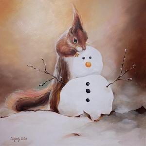 A hóember finom - akrilfestmény egyedi fakerettel, Művészet, Festmény, Akril, Festészet, 40x40 cm-es farostlemezre festett akrilfestményemet a karácsonyi készülődés és a hó iránti vágy ihle..., Meska