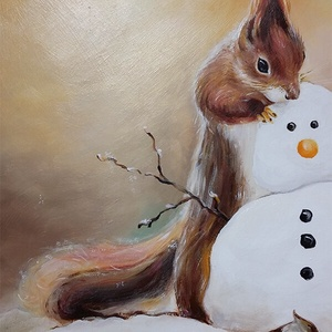 A hóember finom - akrilfestmény egyedi fakerettel (BohemKucko) - Meska.hu