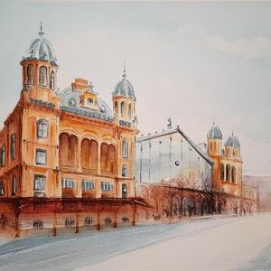 Építészet - Nyugati pályaudvar, Budapest; akvarellfestmény keretben - Meska.hu