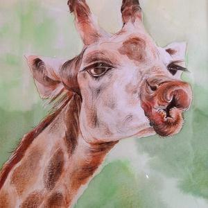 Zsiráfpuszi - vidám összeállítás gyermekeknek, kép+szütyő+rajzfüzet, Otthon & Lakás, Dekoráció, Kép & Falikép, Festészet, Vegyes technikás képem: akvarell + színes ceruza a zsiráfról - puszira csábít.\n21x30 cm-es Fabriano ..., Meska