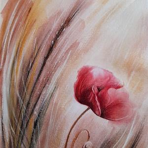 Pici pipacs - akvarell-pasztell vegyes technikával készített pipacs egy mezőről, festett képkerettel, Művészet, Festmény, Akvarell, Festészet, 21x30 cm-es akvarellpapírra festettem akvarellel a piros pipacsot. A pigmentek finoman folytak el a ..., Meska