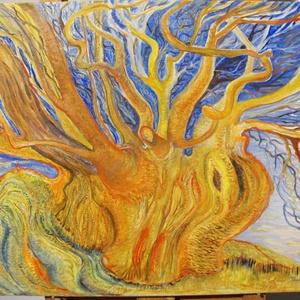 Mesefűz, Otthon & lakás, Képzőművészet, Festmény, Olajfestmény, Festészet, Mesebeli öreg fűzfa, vibrálóan élénk kék és narancssárga színekkel ábrázolva.\nMolnár Ibolya festőműv..., Meska
