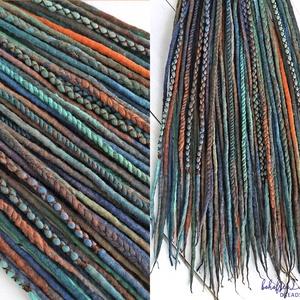 Erdő gyapjú raszta szett, Narancs, barna, zöld, szürke színű felfonható teljes szett duplaszálas műraszta, Táska, Divat & Szépség, Ruha, divat, Hajbavaló, Nemezelés, Multicolor extra finom merinó gyapjúból nemezelés technikával készítettem ezt a szettet.\n\nDíszítése:..., Meska