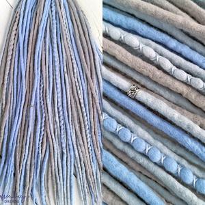 Gyapjú raszta szett, Szürke, kék felfonható duplaszálas műraszta teljes szett, Táska, Divat & Szépség, Ruha, divat, Hajbavaló, Nemezelés, Felhő szürke, kék extra finom merinó gyapjúból nemezelés technikával készítettem ezt a szettet.\n\nDís..., Meska