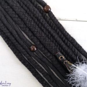 Étcsoki barna raszta viking témájú gyapjú raszta szett, Táska, Divat & Szépség, Ruha, divat, Hajbavaló, Nemezelés, Étcsoki színű merinó gyapjúból, nemezelés technikával készítettem ezt a viking stílusú szettet. \n\nA ..., Meska