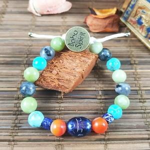 Védelmező szkarabeusz amulett - Egyiptomi stílusú szkarabeuszos ásvány karkötő, Ékszer, Karkötő, Gyöngyös karkötő, Saját márkás, Boho Spirit logoval ellátott karkötő eladó több méretben. Egyiptomi stílusban megfűzöt..., Meska