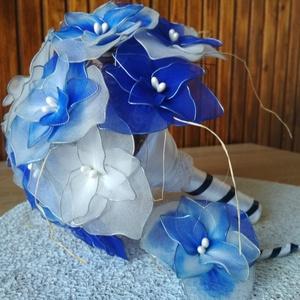 """""""Éjkék ragyogás"""" esküvői csokor, Esküvő, Menyasszonyi- és dobócsokor, Menyasszonyi- és dobócsokor, Az """"Éjkék ragyogás"""" esküvői csokrot azoknak a menyasszonyoknak ajánlom, akik szeretik a kéknek ezt a..., Meska"""