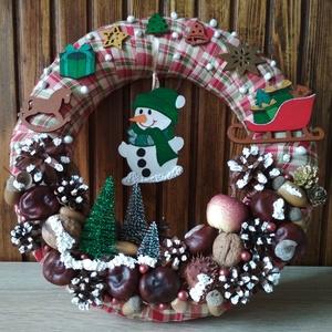 Ajtódísz zöld hóemberrel - karácsony, tél, ajtódísz, kopogtató , Otthon & Lakás, Karácsony & Mikulás, Karácsonyi kopogtató, Mindenmás, A képeken látható termésekkel és karácsonyi motívumokkal díszített ajtókoszorú remekül díszíti ottho..., Meska