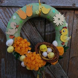Csupa Csibe Csoda, Otthon & Lakás, Dekoráció, Ajtódísz & Kopogtató, A képeken látható tavaszi/húsvéti motívumokkal díszített ajtókoszorú remekül díszíti otthonunkat a t..., Meska