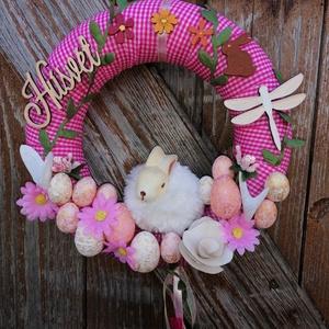 Ajtódísz Pufi Nyuszival, Otthon & Lakás, Dekoráció, Ajtódísz & Kopogtató, A képeken látható húsvéti motívumokkal díszített ajtókoszorú remekül díszíti otthonunkat a tavaszi h..., Meska