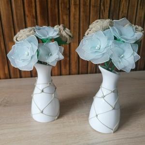 Halvány kék virágcsokrok - virágcsokor asztaldísz, nyár, nyári asztaldísz, Otthon & Lakás, Dekoráció, Csokor & Virágdísz, Halvány kék árnyalattal készítettem vázás virágcsokrokat, melyeket ajánlom a közelgő nyári szezonra ..., Meska