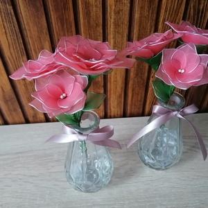 Rózsaszín virágcsokor vázával - asztaldísz, harisnyavirág, örökvirág, Dekoráció, Otthon & Lakás, Csokor & Virágdísz, Virágkötés, Rózsaszín harisnyavirágból készítettem vázás virágcsokrot, melyet ajánlok ballagásokra, Anyák napjár..., Meska