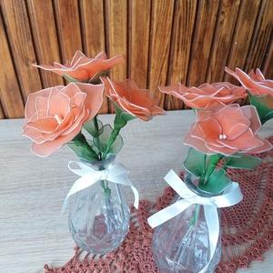Narancssárga virágcsokor vázával - asztaldísz, harisnyavirág, örökvirág, örökcsokor, tavaszi dekor, Otthon & Lakás, Dekoráció, Csokor & Virágdísz, Narancssárga harisnyavirágból készítettem vázás virágcsokrot, melyet ajánlok ballagásokra, Anyák nap..., Meska