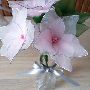 Rózsaszín vázás virágcsokrok - örökcsokor, örökvirág, asztaldísz, harisnyavirág, valentin - Meska.hu