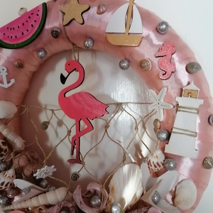 Rózsaszín flamingós nyári ajtódísz, kopogtató - nyári dísz, dekor, ajtóra - Meska.hu