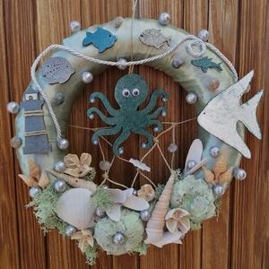Zöld polipos nyári ajtódísz, kopogtató - nyári dísz, dekor, ajtóra, Otthon & Lakás, Dekoráció, Ajtódísz & Kopogtató, A képeken látható nyári motívumokkal díszített ajtókoszorú remekül díszíti otthonunkat a nyári hónap..., Meska