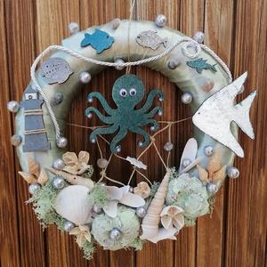 Zöld polipos nyári ajtódísz, kopogtató - nyári dísz, dekor, ajtóra - Meska.hu