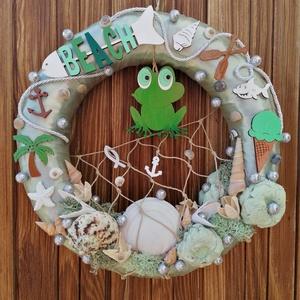 Zöld békás nyári ajtódísz, kopogtató - nyári dísz, dekor, ajtóra, Otthon & Lakás, Dekoráció, Ajtódísz & Kopogtató, A képeken látható nyári motívumokkal díszített ajtókoszorú remekül díszíti otthonunkat a nyári hónap..., Meska