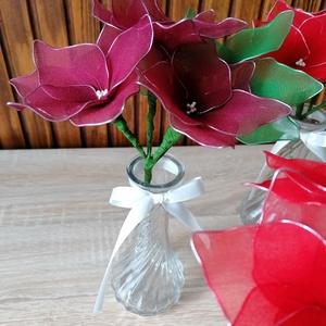 Piros és bordó vázás virágcsokrok - örökcsokor, örökvirág, asztaldísz, harisnyavirág, valentin - Meska.hu