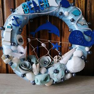 Kék delfines nyári ajtódísz, kopogtató - nyári dísz, dekor, ajtóra, Otthon & Lakás, Dekoráció, Ajtódísz & Kopogtató, A képeken látható nyári motívumokkal díszített ajtókoszorú remekül díszíti otthonunkat a nyári hónap..., Meska