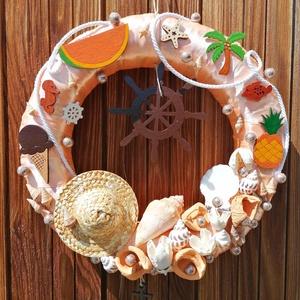 Narancssárga hajós ajtódísz, kopogtató - nyári dísz, dekor, ajtóra, Otthon & Lakás, Dekoráció, Ajtódísz & Kopogtató, A képeken látható nyári motívumokkal díszített ajtókoszorú remekül díszíti otthonunkat a nyári hónap..., Meska