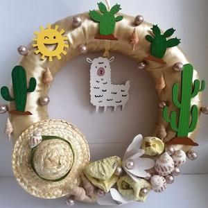 Dél-amerikai ajtódísz 2, kopogtató alpakával és kaktusszal - nyári dísz, dekor, ajtóra, Otthon & Lakás, Dekoráció, Ajtódísz & Kopogtató, A képeken látható nyári motívumokkal díszített ajtókoszorú remekül díszíti otthonunkat a nyári hónap..., Meska