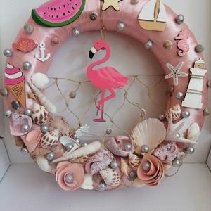 Rózsaszín flamingós nyári ajtódísz, kopogtató - nyári dísz, dekor, ajtóra, Otthon & Lakás, Dekoráció, Ajtódísz & Kopogtató, A képeken látható nyári motívumokkal díszített ajtókoszorú remekül díszíti otthonunkat a nyári hónap..., Meska