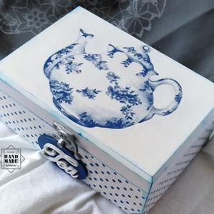 Teásdoboz kék-fehér porcelán mintával  / 6 rekeszes (Bolyboly) - Meska.hu