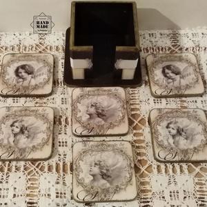 Poháralátét tartóban - nem csak romantikus lelkűeknek, angyal motívummal, Otthon & lakás, Konyhafelszerelés, Edényalátét, Dekoráció, Ünnepi dekoráció, Decoupage, transzfer és szalvétatechnika, Festett tárgyak, 6 db négyzet alakú poháralátét romantikus, antikolt stílusban, angyal motívummal. 3 féle angyal pár ..., Meska